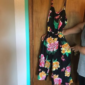 Jumpsuit with Flowers, Tie, and Adjustable Straps